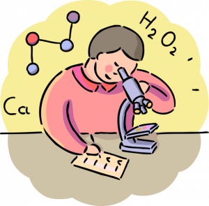 Chemistry Student with Microscope